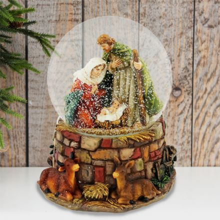 Large Musical Mary Joseph and Baby Jesus Holy Nativity Snow Globe